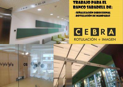 Señalización direccional más rotulación de mamparas: Banco Sabadell